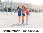 three happy female multiethnic... | Shutterstock . vector #1045309009