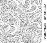 monochrome seamless pattern... | Shutterstock . vector #1045313665