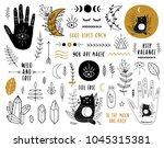 ethnic set with hands  moon ... | Shutterstock .eps vector #1045315381
