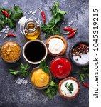set of different sauces.... | Shutterstock . vector #1045319215
