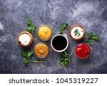 set of different sauces.... | Shutterstock . vector #1045319227
