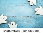 halloween gingerbread cookies... | Shutterstock . vector #1045322581