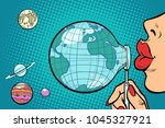 planet earth is blown out like... | Shutterstock .eps vector #1045327921