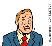 funny man crying. comic cartoon ... | Shutterstock .eps vector #1045327924
