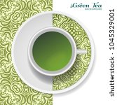 cup of green tea with doodle...   Shutterstock .eps vector #1045329001