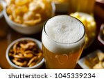 pint of lager beer in a glass ... | Shutterstock . vector #1045339234
