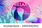 Stock vector  s relax hot summer mix ultra violet retro style pop disco design neon fashion party 1045340341