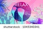 80's. relax. 80' hot summer mix.... | Shutterstock .eps vector #1045340341