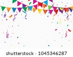 many falling colorful party... | Shutterstock .eps vector #1045346287