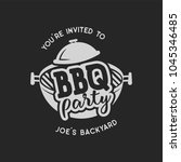 vintage hand drawn bbq party ...   Shutterstock .eps vector #1045346485