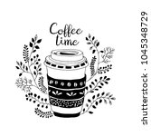 coffee time. cute coffe ... | Shutterstock .eps vector #1045348729