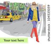cute girl  on a street... | Shutterstock .eps vector #104535059
