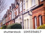 row of typical british terraced ... | Shutterstock . vector #1045356817