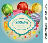 birthday card with blue... | Shutterstock .eps vector #1045358347