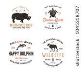 wild animal badges set and...   Shutterstock .eps vector #1045358707