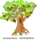 old oak tree with acorns and... | Shutterstock .eps vector #1045360414