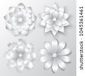 set of beautiful volume paper... | Shutterstock .eps vector #1045361461