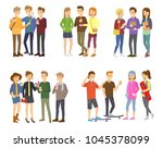 youth group of teenagers vector ... | Shutterstock .eps vector #1045378099