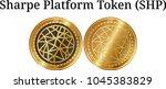 set of physical golden coin... | Shutterstock .eps vector #1045383829
