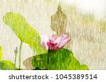 the lotus flower and silhouette ... | Shutterstock . vector #1045389514