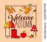 seasonal weather autumn | Shutterstock .eps vector #1045390759