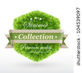 vintage label with green leaves ... | Shutterstock .eps vector #104539097