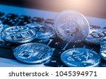 modern way of exchange. bitcoin ... | Shutterstock . vector #1045394971