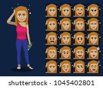 drunk blonde woman holding... | Shutterstock .eps vector #1045402801