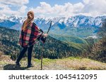 sochi mountains and girl | Shutterstock . vector #1045412095