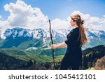sochi mountains and girl | Shutterstock . vector #1045412101