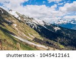 sochi mountains and girl | Shutterstock . vector #1045412161