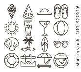 summer season line icon black... | Shutterstock .eps vector #1045420519