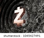 bronze zcash symbol on black... | Shutterstock . vector #1045427491