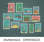 postage stamps and postmarks... | Shutterstock . vector #1045436221