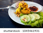 thai pumpkin hummus with salad... | Shutterstock . vector #1045461931