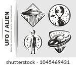 ufo   aliens emblem  vector...   Shutterstock .eps vector #1045469431