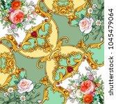 design of kerchief with flowers ... | Shutterstock . vector #1045479064