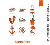 summer and beach simple flat... | Shutterstock .eps vector #1045485679