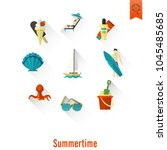 summer and beach simple flat... | Shutterstock .eps vector #1045485685