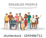 disabled people banner in flat... | Shutterstock . vector #1045486711