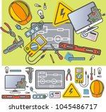 electricity engineering icon... | Shutterstock . vector #1045486717