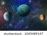 planets  stars and galaxies in... | Shutterstock . vector #1045489147