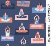 women yoga class with... | Shutterstock .eps vector #1045495807