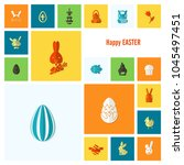 celebration easter icons.... | Shutterstock .eps vector #1045497451