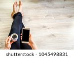 student with mobile phone and... | Shutterstock . vector #1045498831