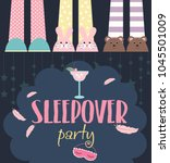 pajama sleepover kids' party... | Shutterstock .eps vector #1045501009