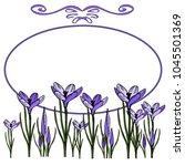 oval spring frame of crocuses... | Shutterstock .eps vector #1045501369