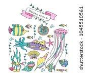 marine life. set of clipart.... | Shutterstock .eps vector #1045510561