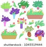 set of cute cartoon plants in... | Shutterstock .eps vector #1045519444