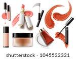 makeup accessories set  top... | Shutterstock .eps vector #1045522321